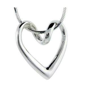 *UK* 925 SILVER PLT HOLLOW ABSTRACT LOVE HEART PENDANT NECKLACE SNAKE FLOATING