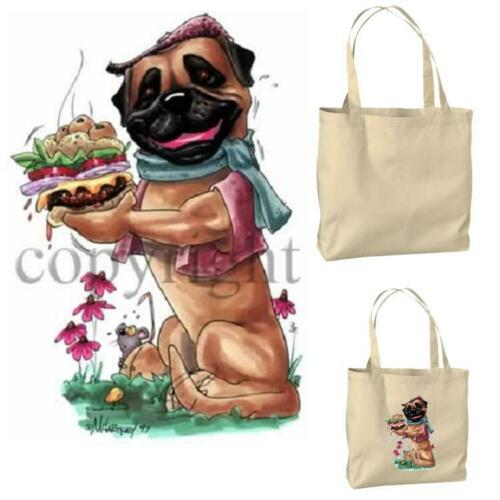 Bullmastiff Mastiff Cheeseburger Cartoon Artist Canvas Market Grocery Tote Bag