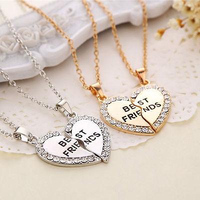 Best Friend Heart Silver Gold Rhinestone 2 Pendants Necklace Bff Friendship - Friends Necklace
