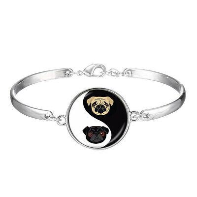 Yin Yang Pug Bulldog Cabochon Glass Charm Bracelets Fashion Jewelry - Bulldog Bracelets