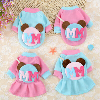 Cute Small Dog Clothes Pet Hoodie Coat Cat Puppy Dress Costume for Girl Boy New