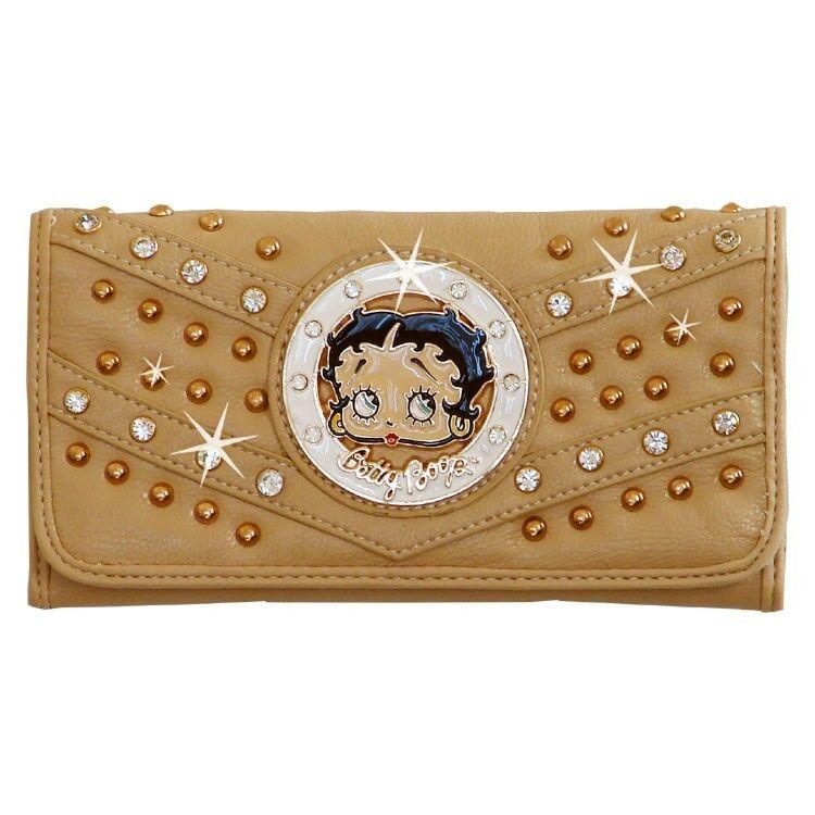 Betty Boop Rhinestone Wallet by Sharon Purse Handbag Beige KFW-4004