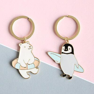 Gold Plated Cute Cartoon Keychain Bear Swimming Penguin Skiing Pendant Women](Penguin Keychain)