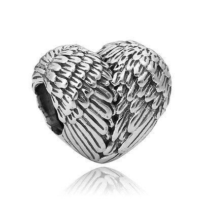 Guardian Angel Love Heart European Charm With Pandora Gift Pouch - Silver Tone