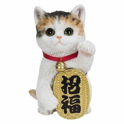 Realistic Kitty Maneki Neko Money Lucky Cat Chinese Japanese Feng Shui Resin