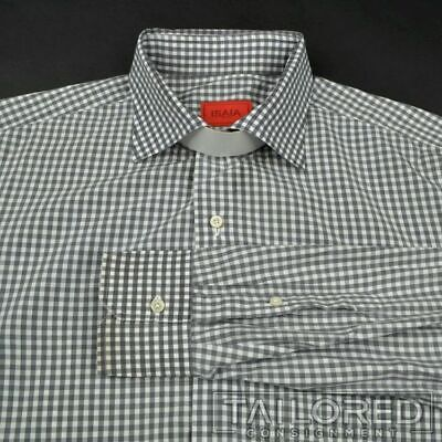 ISAIA Gray Gingham Check 100% Cotton Mens Luxury Dress Shirt - 17
