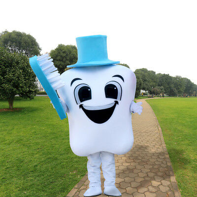 Tooth Mascot Costume Adults Size Dental Care Costume Fancy Dress For - Tooth Costumes