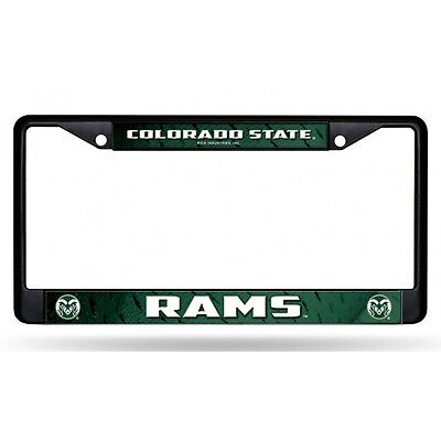 colorado state rams black ncaa college chrome license plate frame made in usa ()