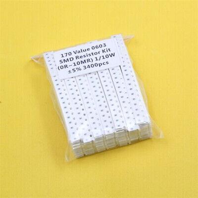 170 Value 0603 Smd Resistor Kit 0r10mr 110w 5 3400pcs Rohs