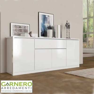 Credenza OPEN Gihome® 4 ante mobile buffet madia moderna base bianco lucido