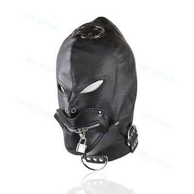 Zipper Mouth Gag Open Eyes Full Gimp Head Hood Mask Padded Locking Costume