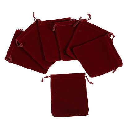 10pcs Wine Red Velvet Pouch Wedding Birthday Party Jewelry Gift Bag 912cm