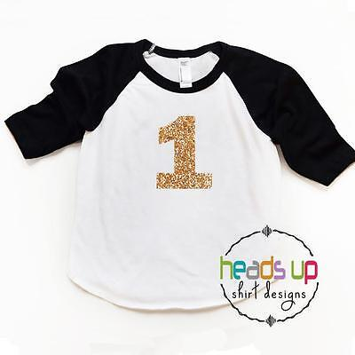 1 Birthday Shirt Glitter First Bday Raglan tshirt Girl Baby/Toddler Girl One - Baby First Bday