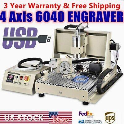 Usb 4 Axis Desktop 6040t Cnc Router Engraver 1500w Vfd Milling Engraving Machine