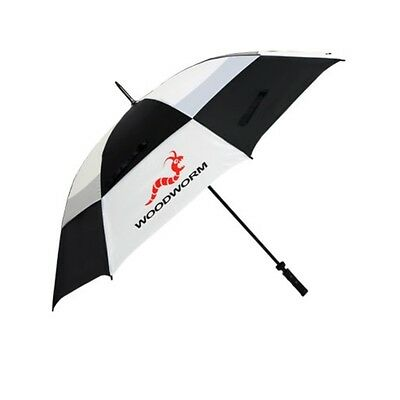 "Woodworm Windproof 60"" Double Canopy Golf Umbrella (Black and White)"