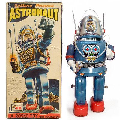 1950s ASTRONAUT ROBOT in BOX by ROSKO, JAPAN Original & Working SEE VIDEO!