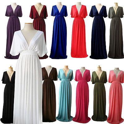 Vtg Cocktail Kimono maxi dress M L XL Wedding White Black Blue Red All colors