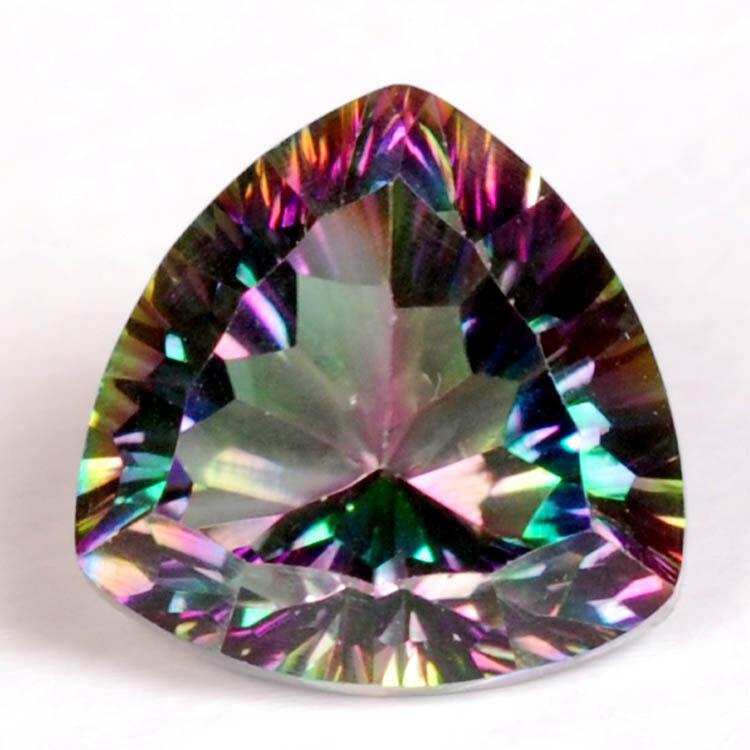 Pair (2) Green MYSTIC QUARTZ 12x12mm TRILLION Faceted GEMSTONES ~ 12 carats!