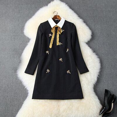 Winter Dresses On Sale (Winter Women Dress Luxury Bow New Arrived Dresses Hot Sale Black Occident)