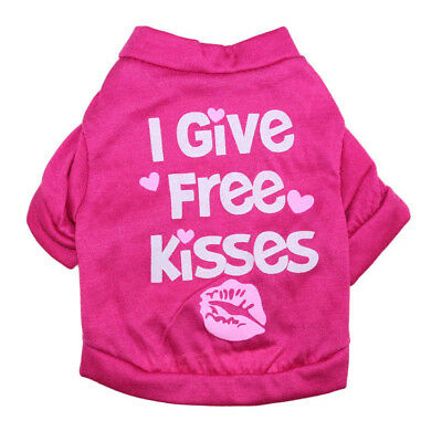 Rose KISSES Puppy Dog Shirt Small Poodle Pet Cat Clothing Costume Dress for Girl