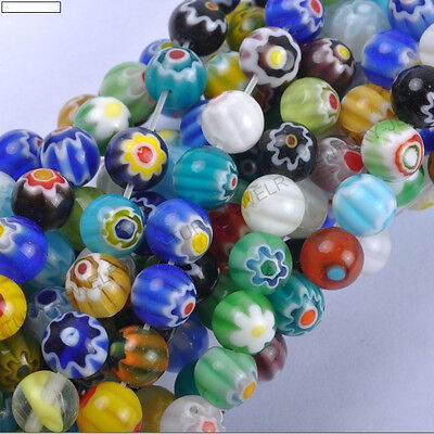 8mm Millefiori Glass - Top Quality Mixed Round MILLEFIORI Glass BEADS  Choose 4MM 6MM 8MM 10MM 12MM