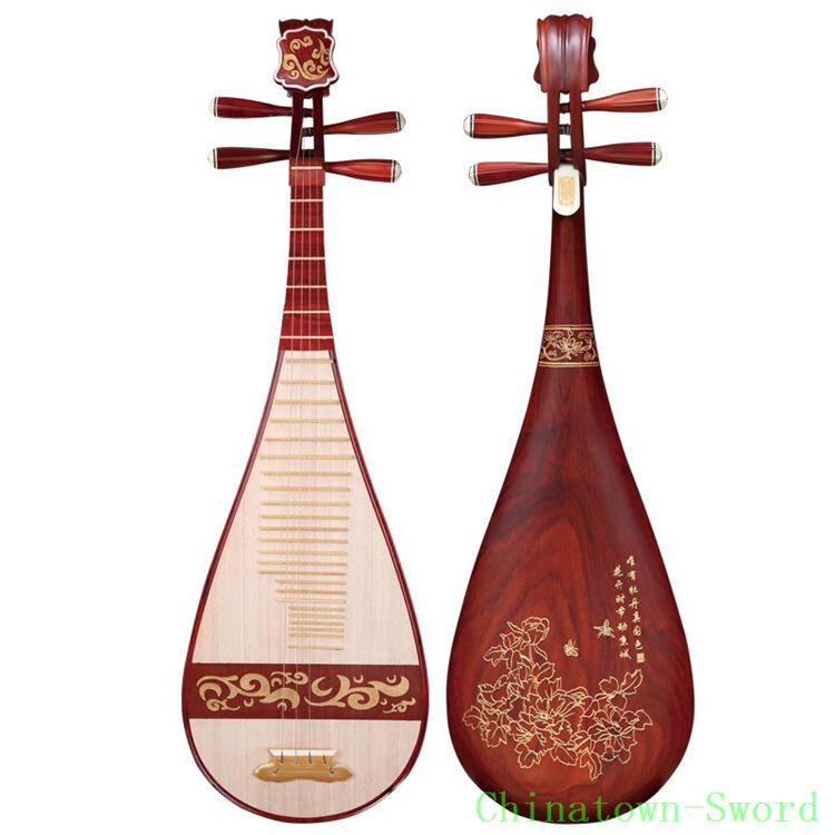 Aged rosewood Chinese Pipa Lute Guitar Handmade Liuqin Musical Instrument #4146