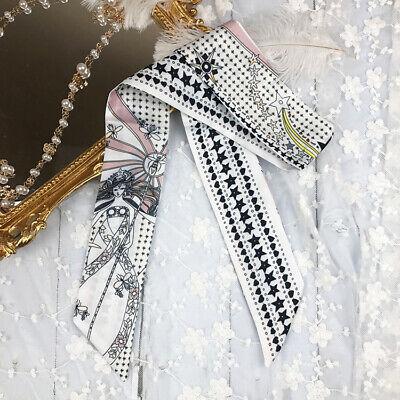 Goddess Bee Silk Twilly Scarf Long Ribbon Bowtie Hair Handbag handle Wrap