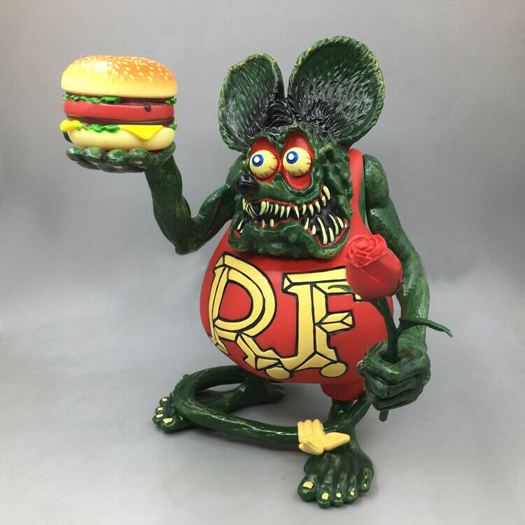 Red Rat Fink with Hamburger Rose Figure Roth Ed Biig Daddy Wacky Wobbler Gift