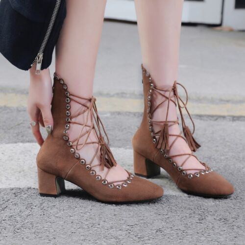 2e42be618eec Women s Cross Strappy Sandals Pointed Toe Tassel Lace Up Block Heels Suede  Shoes