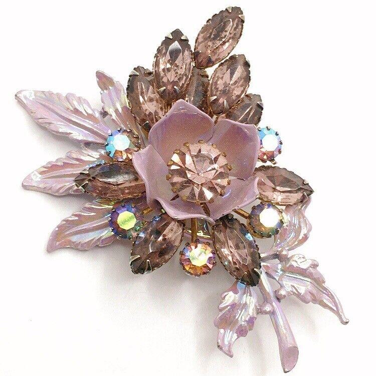 💐Vintage Statement Rhinestone Enamel Flower Bouquet Brooch Pin Lot B Layered