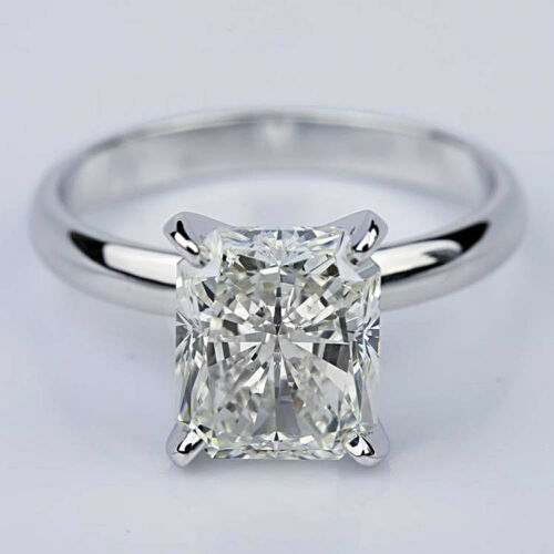 Solitaire 1.02 Carat Radiant Cut Diamond Engagement Ring 14k White Gold VS1 H