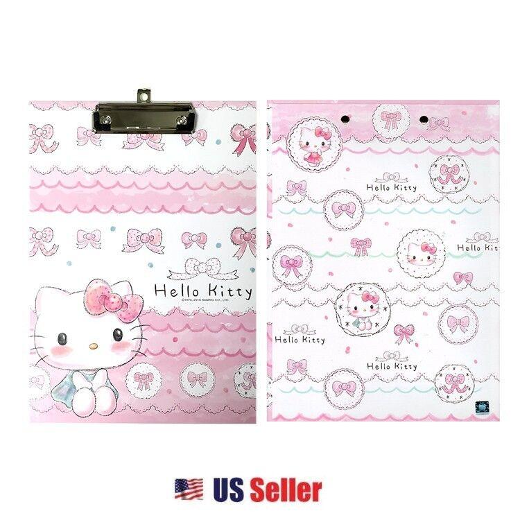 Sanrio Hello Kitty Hard Board Clip Board : Pink Ribbon Hello Kitty Sketch
