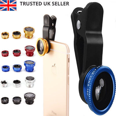 3 in 1 Mobile Phone Camera Lens Fish Eye Wide Angle Macro Clip Set for iPhone UK