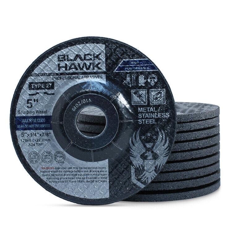 "50 Pack - 5"" x 1/4"" x 7/8"" Black Hawk Grinding Wheels T27 Discs for Metal"