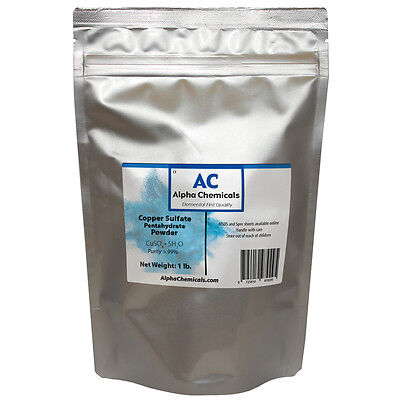 1 Pound - Copper Sulfate Pentahydrate Powder - 99 Pure