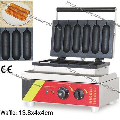 Commercial Nonstick Electric 6pcs French Hot Dog Waffle Baker Iron Maker Machine