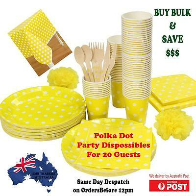 Pack Yellow Polka Dot Table cover,Plates,& Napkins -62 PCS (Party Supplies Bulk)