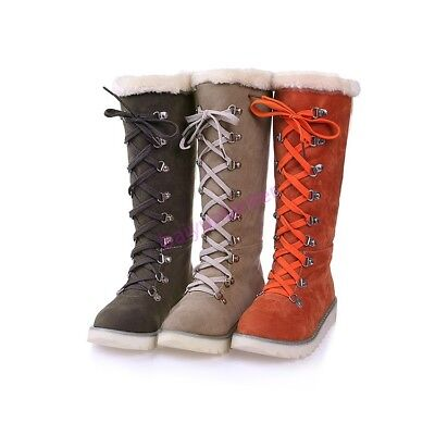 Womens Flats Lace up Knee High Fur Lining Snow Winter Punk Comfort Boot Shoes Sz