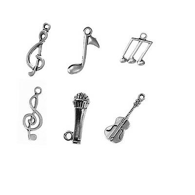 Play Music Notes Beads Tibetan Silver Charms Pendant Diy Bracelet 10Pcs 6Styles