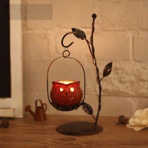 Owl Candle Holder LED Tealight Candlestick Lantern Hanging Xmas Home Decoration