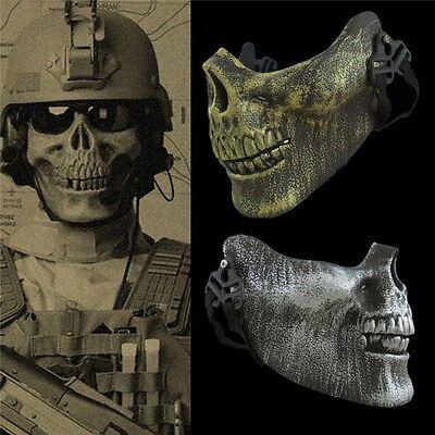 Men Half Face Skull Skeleton Mask Halloween Party Cosplay Fancy Dress Costume - Half Face Halloween Men