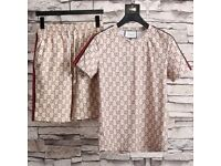 Gucci GG Jacquard - T-shirt & Shorts - Creme, Summer *FREE DELIVERY* SMALL, MEDIUM, LARGE With Tags
