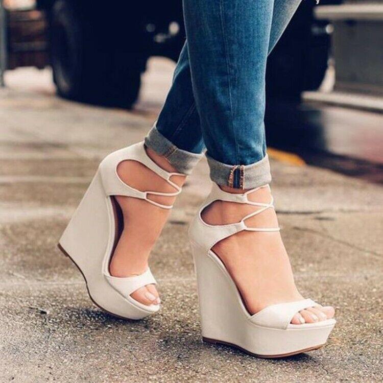 Fashion Women Pumps Platform Wedges Heels Pumps Beige Shoes
