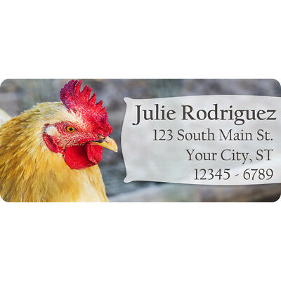 Animals Address Labels (Rooster Personalized Return Address Labels Chicken Farm Animals 60)