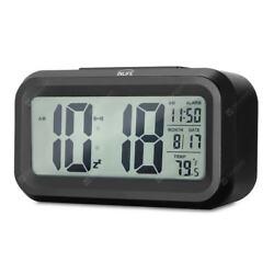 Digital Alarm Clock with LED Light Blue Background. Alarm-Large Numbers-Date-Tem