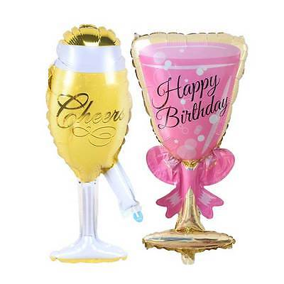 Foil Helium Balloon Happy Birthday Bottle Goblet Shaped Wedding Party Decoration - Helium Bottle