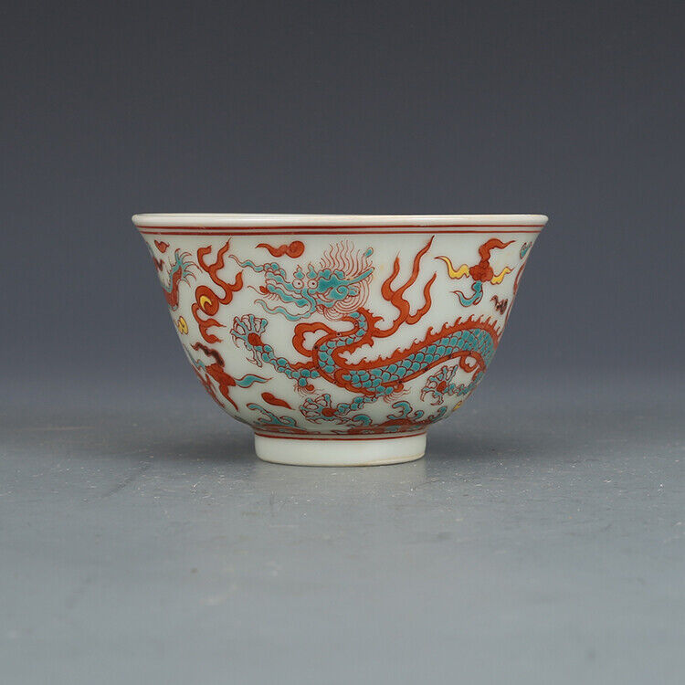 """2.9""""Rare China Porcelain mingDynasty Multicolored Dragon lines cup"""