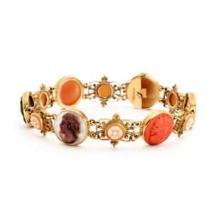 14K Victorian Hand-Carved Cameo Gold Bracelet! Great Value