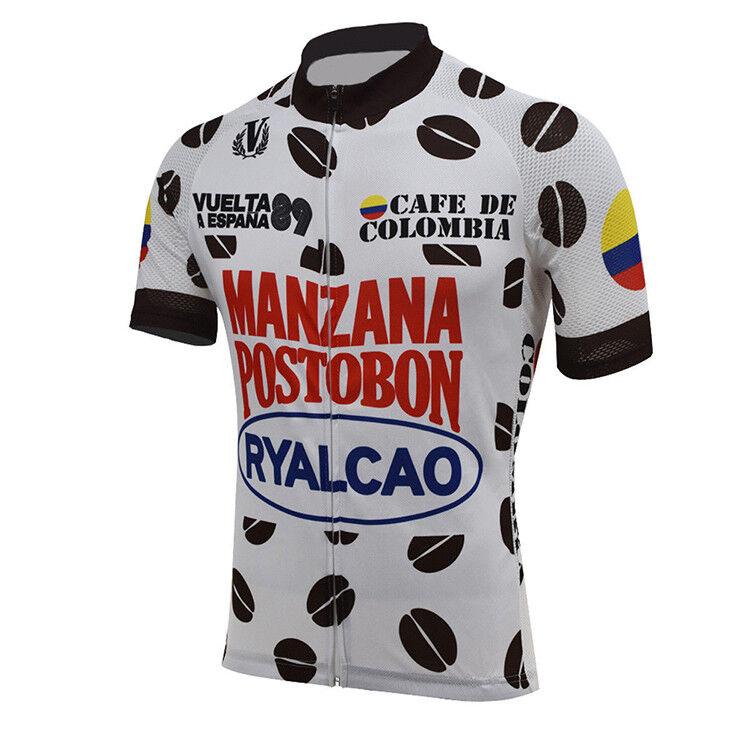 1986 CAFE DE COLOMBIA Cycling Jersey Retro Road Pro Bike MTB Short Sleeve Bike