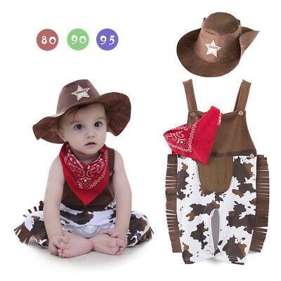 Baby Boys Girls Cowboy Western Sheriff Fancy Costume Outfits Hat Sets - Western Baby Halloween Costumes